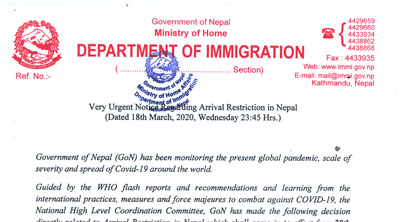 Urgent Notice Regarding Arrival Restriction in Nepal